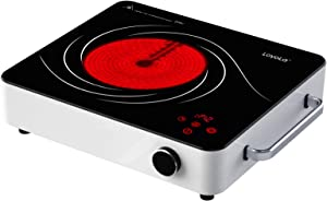 LoyoLa Countertop Burner 1200W, Infrared Ceramic Cooker, Portable Stove Electric Cooktop with 3 Adjustable Fire Ring, 12 level Temp Control and Time Setting, Adapt for All Cookware