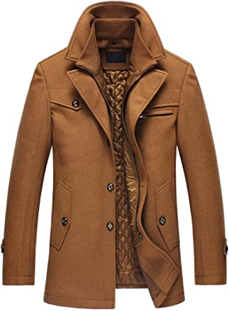 TALLA M. Abrigo cálido de lana para hombre de Lavnis, cuello alto, abrigo de invierno, abrigo corto, chaqueta de invierno, negocios, ocio