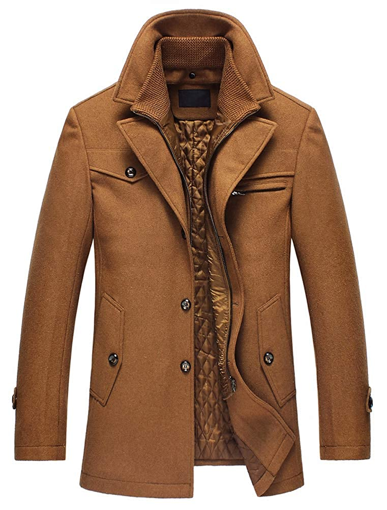 TALLA M. Lavnis Hombre cálido Woll Abrigo Cuello Abrigo de Invierno Abrigo Corto Chaqueta de Invierno Business Tiempo Libre