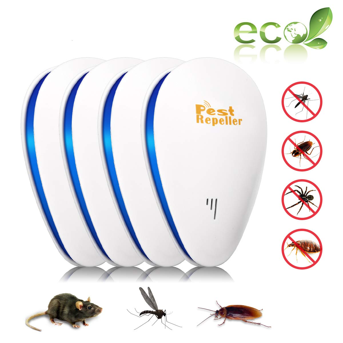 Ultrasonic Pest Repeller CHARMINER Plug in Repellent Indoor/Outdoor for Mosquitoes Mice Ants Rats Roaches Spiders Bugs Flies Rodents - Eco-Friendly Human & Pet Safe Pest Warrior (4 Pack) CHARMINERbesttoanywhere2076