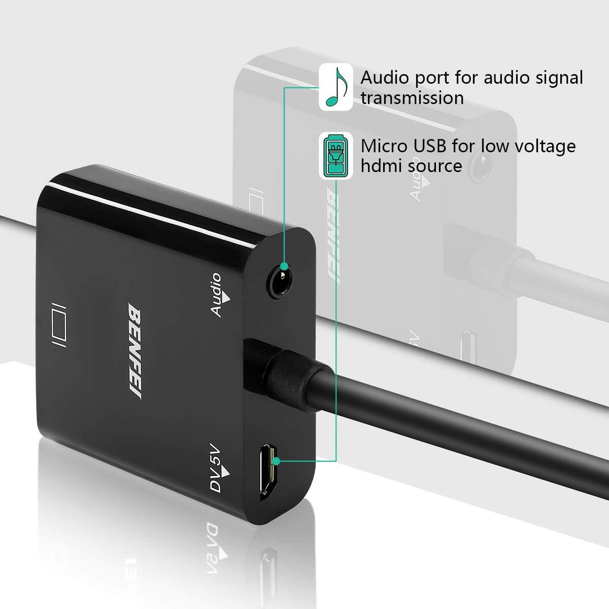 placcato in oro PS4 cavo adattatore da Active HDMI a VGA XBox 360 One Benfei PS3 con audio per computer portatile