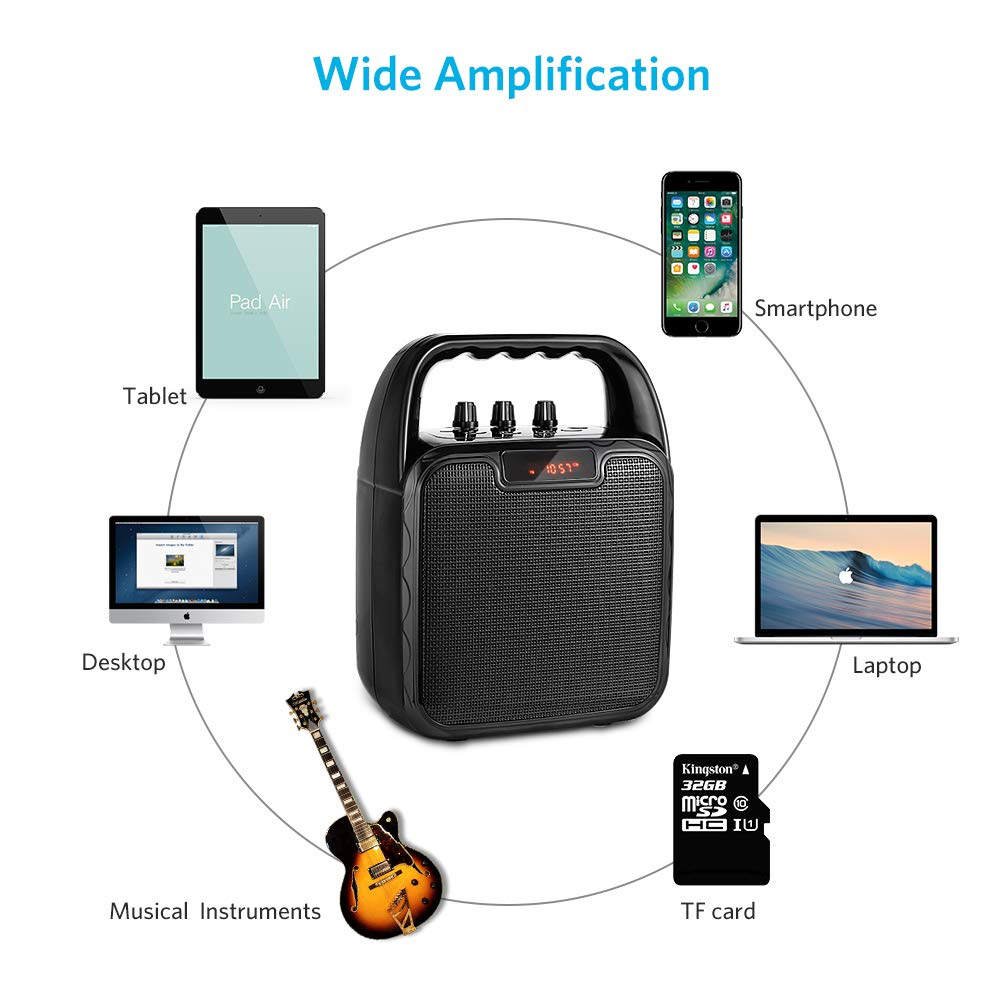 ARCHEER Portable PA Speaker System, bluetooth Speaker with Microphone, Karaoke Machine Voice Amplifier Handheld Mic Perfect for Party,Karaoke and other Outdoors and Indoors Activities by ARCHEER (Image #5)