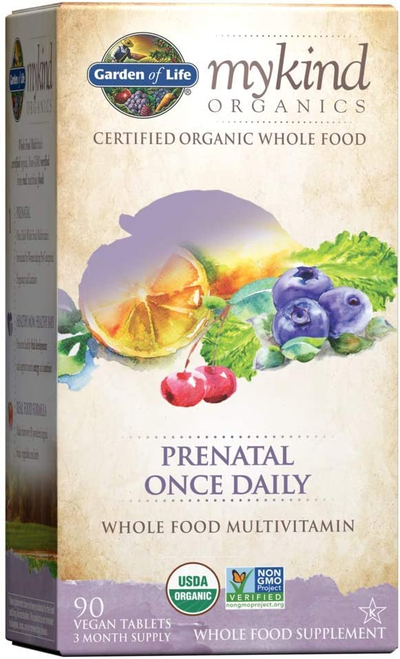 Garden of Life Mykind Organics Prenatal Daily Whole Food Vitamins Tablets for Women, Fruit, 90 Count (Pack of 1)