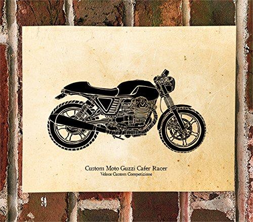 Limited Print Vintage Veloce Custom Competizione Moto Guzzi