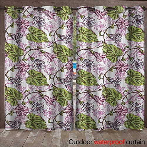 (Floral Outdoor Balcony Privacy Curtain Hand Drawn Wildflowers Pattern with Watercolor Effects Ornamental Foliage Design W72 x L84(183cm x 214cm))