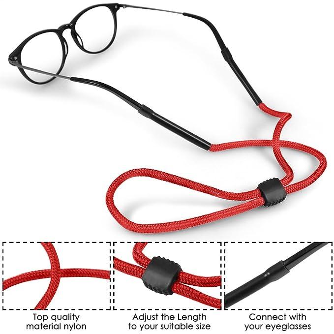 12pièce de cordon de lunette noir en nylon Eyewear, cordon de marque et support pour le sport de plein air.