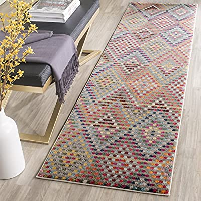 """Safavieh Monaco Collection MNC204F Modern Geometric Diamond Polka Dot Multi and Beige Distressed Runner (2'2"""" x 6') - The high-quality polypropylene pile fiber adds durability and longevity to these rugs The power loomed construction adds durability to this rug, ensuring it will be a favorite for many years The modern style of this rug will give your room a elegant accent - runner-rugs, entryway-furniture-decor, entryway-laundry-room - 61v22WfJo0L. SS400  -"""