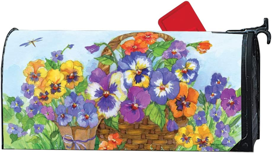 Mailwraps Studio M Pansy Lane Oversized Magnetic Mailbox Cover
