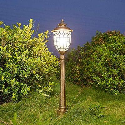 XGFYW Vintage E27 Lámpara de Pedestal de luz Exterior Lámpara de Camino de Vidrio de Aluminio Lámpara de pie de jardín para jardín Lámpara de pie Lámpara de Exterior Impermeable Retro, Bronc: