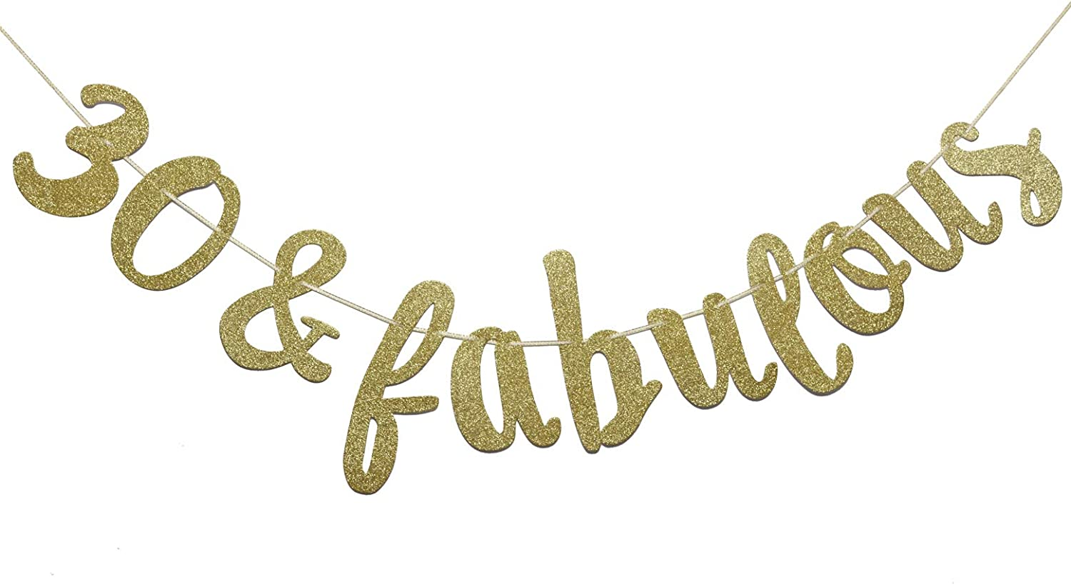 Firefairy 30 & Fabulous Cursive Banner- Happy 30tht Birthday Anniversary Party Supplies, Ideas and Decorations(Gold)