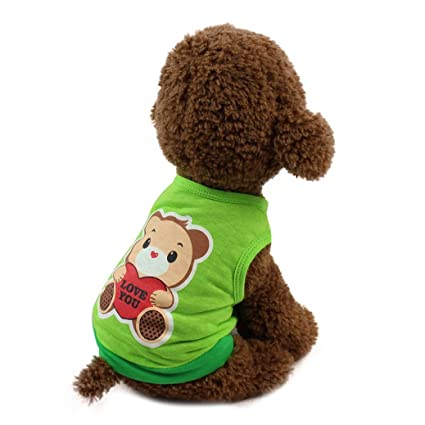 6734472e1 Amazon.com: Hot Sale Fashion New Pet Clothes Cute Lovely Cute Chubby Pet  Dog Cat T-shirt Clothing Small Puppy Costume by Neartime (M, Green):  Kitchen & ...