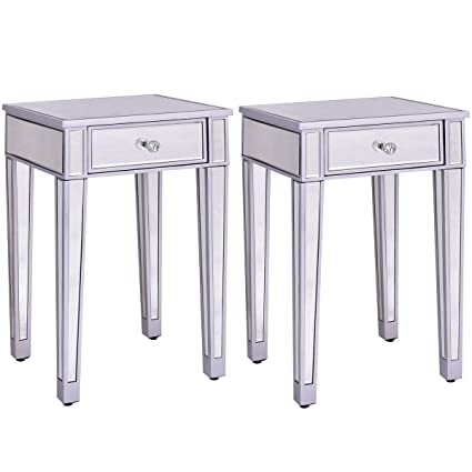Giantex 2 Pcs Mirrored End Table Nightstand W/ One Drawer Home Accent Table  Bedside Storage