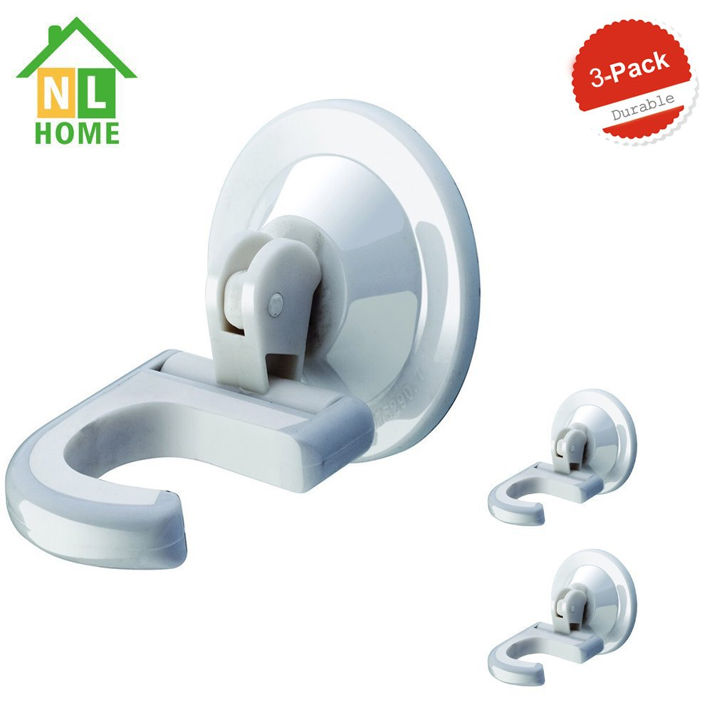 Set of 3 Multi Use Suction Cup Hooks Mop Broom Holders or Hangers Power Lock Up to 10 LB Strong Suction White by NL HOME
