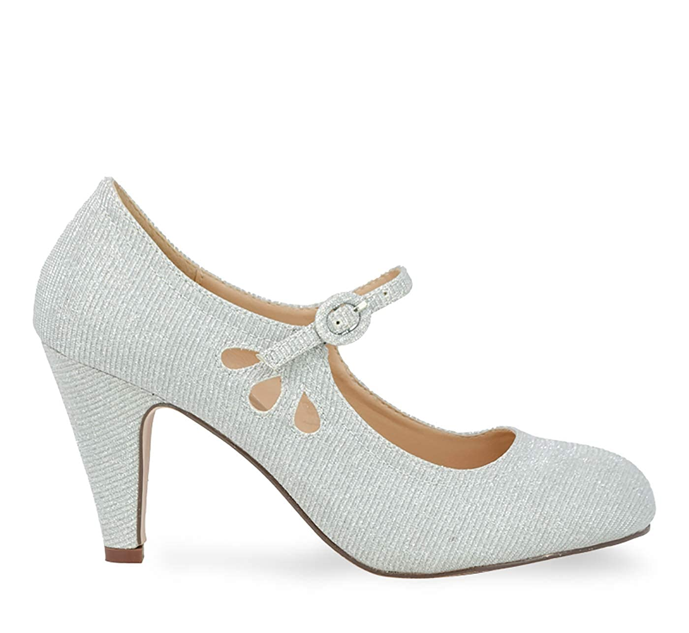 Vintage Heels, Retro Heels, Pumps, Shoes Chase & Chloe Kimmy-21 Womens Round Toe Pierced Mid Heel Mary Jane Style Dress Pumps $45.46 AT vintagedancer.com