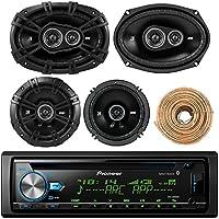 Pioneer DEH-X6900BT Car Bluetooth Radio USB AUX CD Player Receiver - Bundle Kit With 2 Kicker DSC69304 6x9 Coaxial 3-Way Car Speaker + 2x DSC654 6.5 2-Way Speaker + Enrock 50-Ft 18G Speaker Wire
