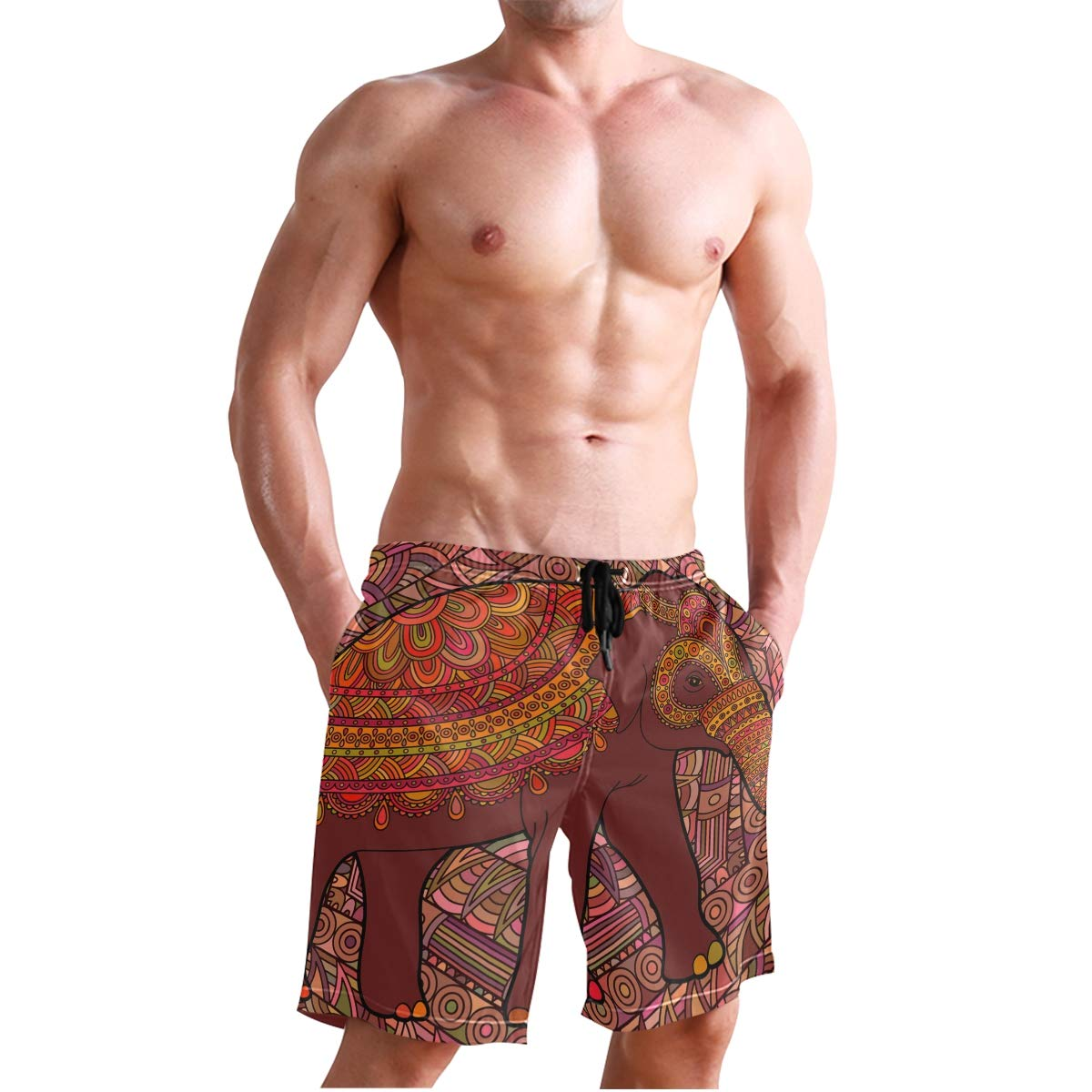CiCily Men/'s Swim Trunks Brown Elephant Beach Board Shorts Swimming Short Pants Running Sports Surffing Shorts