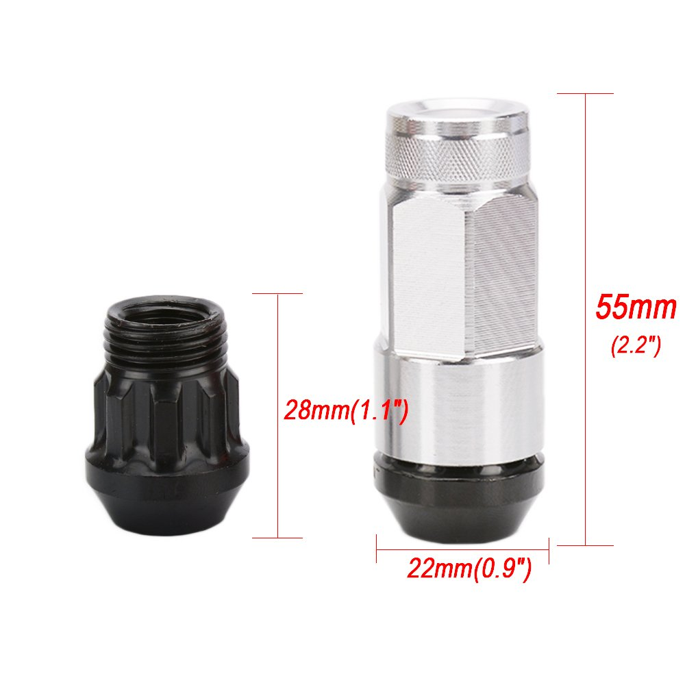 SENZEAL 20x Wheel Nuts Set Alloy Steel Anti theft Car Locking Nuts with Aluminum Covers M12 x 1.25 Silver