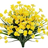 TEMCHY Artificial Daffodils Fake Large Flowers, 4 Bundles Yellow UV Resistant Faux Greenery Foliage Plants Shrubs for Garden, Wedding, Outside Hanging Planter, Farmhouse Indoor Outdoor Decor