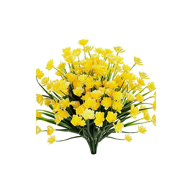 silk flower arrangements artificial daffodils fake large flowers, 4 bundles yellow uv resistant faux greenery foliage plants shrubs for garden, wedding, outside hanging planter, farmhouse indoor outdoor decor