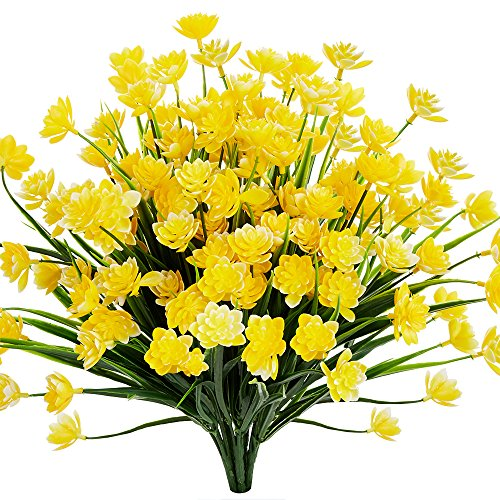 (TEMCHY Artificial Daffodils Fake Large Flowers, 4 Bundles Yellow UV Resistant Faux Greenery Foliage Plants Shrubs for Garden, Wedding, Outside Hanging Planter, Farmhouse Indoor Outdoor Decor )