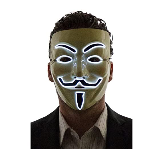 Máscara de CALISTOUS de V de Vendetta (Guy Fawkes) hecha de LED para disfraz de cosplay: Amazon.es: Hogar