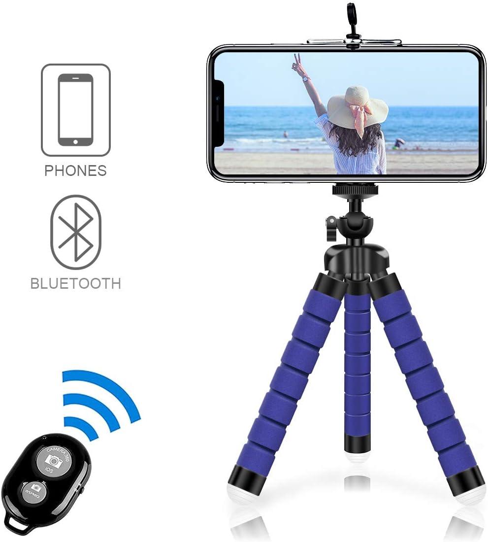 Alfort Mini Trípode, Trípode Móvil Flexible 360°Rotación Teléfonos de Soporte con Control Remoto Portátil Trípode para iPhone 8/8 Plus/Samsung Galaxy/Huawei y Otros iOS/Android (5.5'' Azul Oscuro)