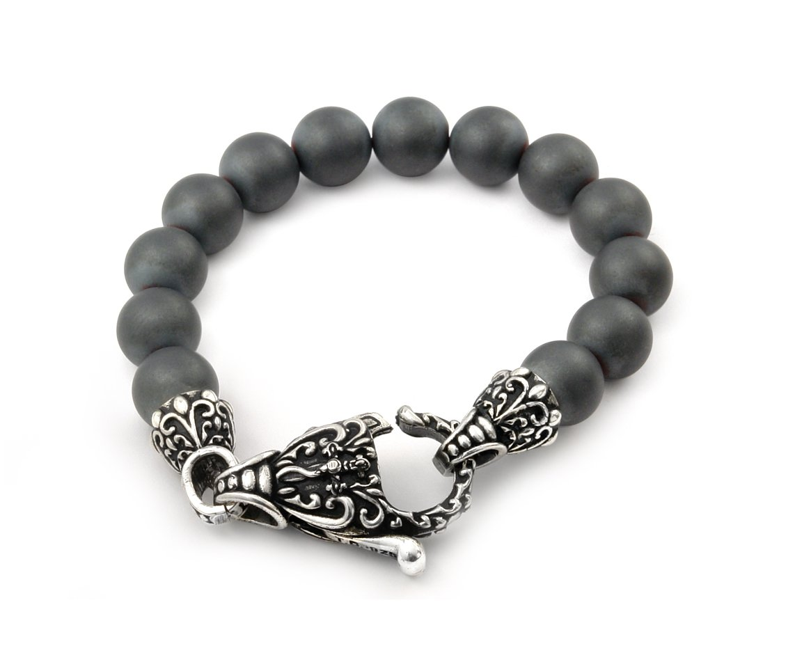 Twisted Blade Simulated Hematite Intricate Matte Bead Bracelet 925 Sterling Silver 9''