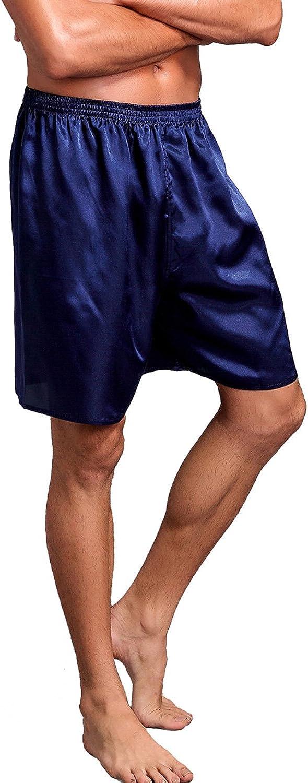 Mens Satin Boxers Shorts Sleepwear Satin Pajama Bottom Underwear Silk Sleep Shorts