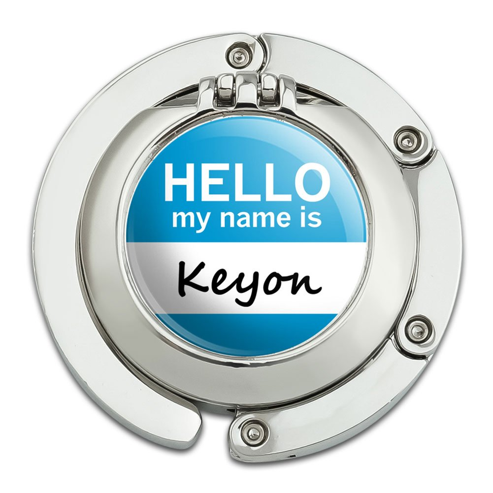 Keyon Hello My Name Is Foldable Table Bag Purse Caddy Handbag Hanger Holder Hook with Folding Compact Mirror