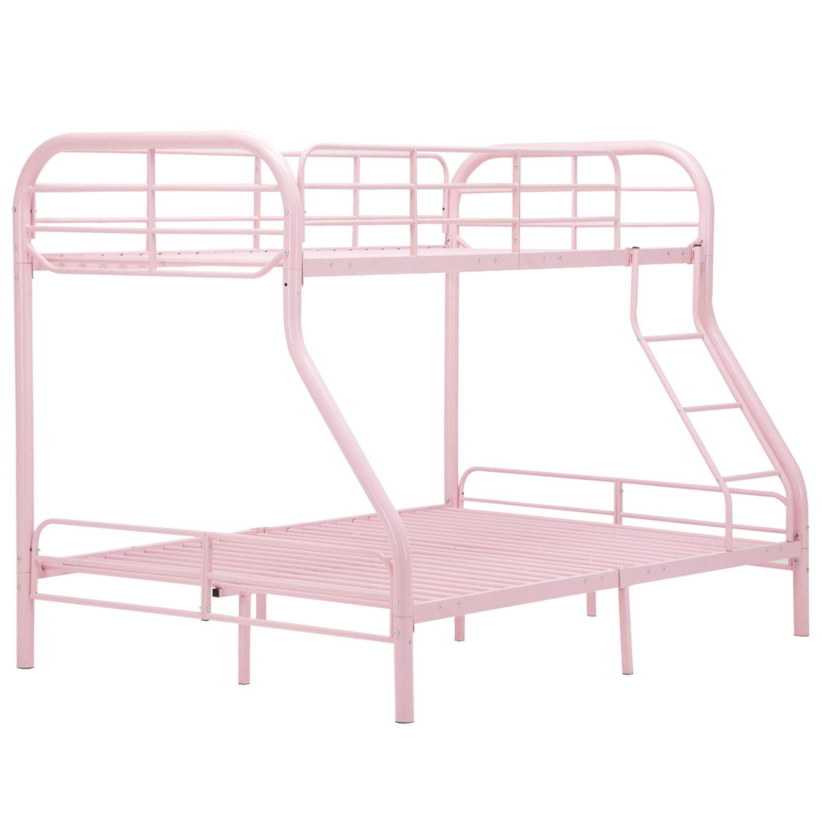Cypressshop Metal Bunk Bed Metal Frame Twin Over Full Size Kids Teen Bedroom Guest Dormitory Sleepers Bedroom Sleeping with Ladders Safety Pink Color Home Furniture