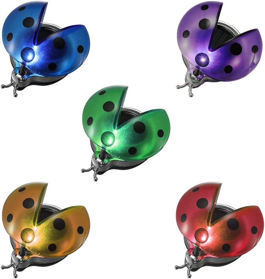 Solar Garden Lights Outdoor, Solar Light LED Garden Decor Statues, Yard Decorations Ladybug Lights for Path, Yard, Lawn, Patio [Set of 5]