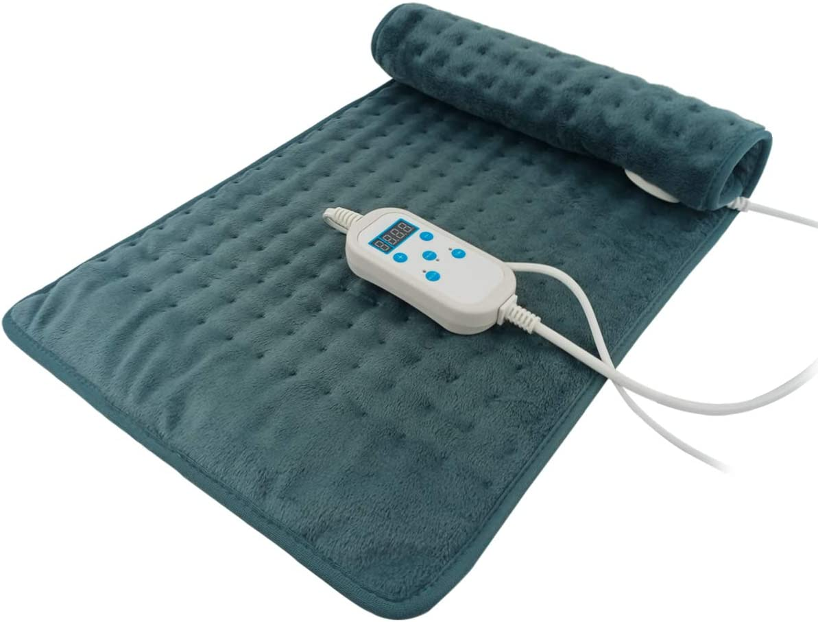 Heating Pad, Electric Heat Pad for Back Pain and Cramps Relief - Electric Fast Heat Pad with 6 Heat Settings -Auto Shut Off- Machine Washable (24''×12'')