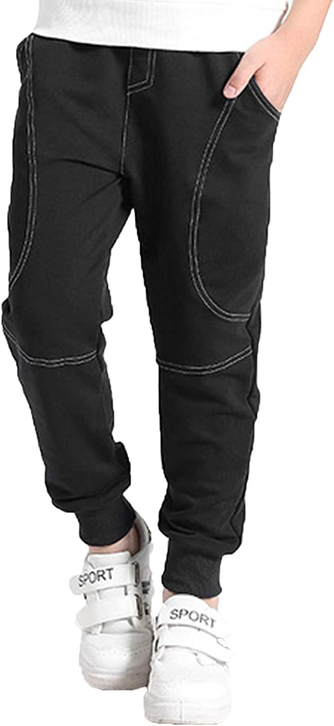 LIGHFOOT Boy's Slim Fit Cotton Sweatpants,Athletic Pants Age 5T-14 (5-14 Years) for Christmas for Christmas