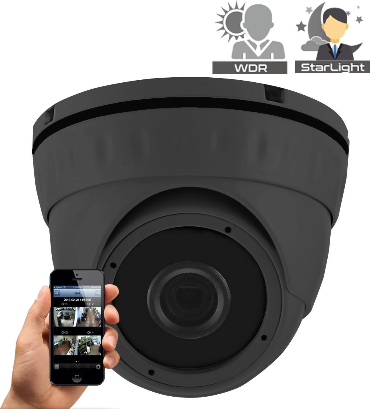 HDView (Economic Series) Starlight HDR 3MP IP Network Camera ONVIF PoE, SONY Starvis Back-illuminated Sensor, Infrared Megapixel 2.8mm Wide Angle Lens 3-Axis, P2P Eyeball Dome Grey