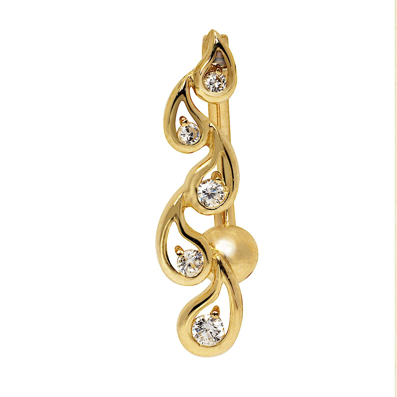 JewelryWeb Solid 14k Yellow or White Gold Journey Tear-Drop Round Cubic Zirconia Top Mount Belly Button Ring Dangle (7mm x 24mm) (Yellow-Gold)