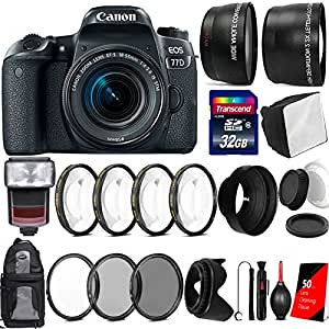 Canon EOS 77D 24.2MP Digtal SLR Camera with 18-55mm IS STM Lens , TTL Speedlite Flash and Accessory Bundle