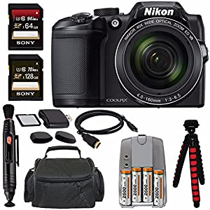 "Nikon COOLPIX B500 Digital Camera (Black) + NiMH Batteries and Charger Set + Sony 64GB SDXC Card + Sony 128GB SDXC Card + Memory Card Reader + Tripod + 6"" HDMI to Micro HDMI Cable Bundle"