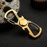 Firlar 3 in 1 Stainless Steel Key Chain Bottle Opener Hand Spinner Multifunction Portable Hand Tool (Gold)