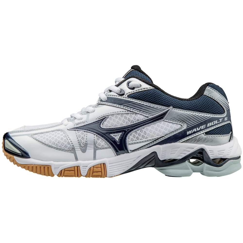 Mizuno Women's Wave Bolt 6 Volleyball Shoes - White & Navy