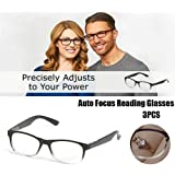 MSYR Auto Focus Reading Glasses, Dial Vision Reading Adjustable Eye Glasses, Anti-Fatigue Anti-UV Glasses Flex Clear Focus Auto Adjusting Optic for Women and Men (3pcs)