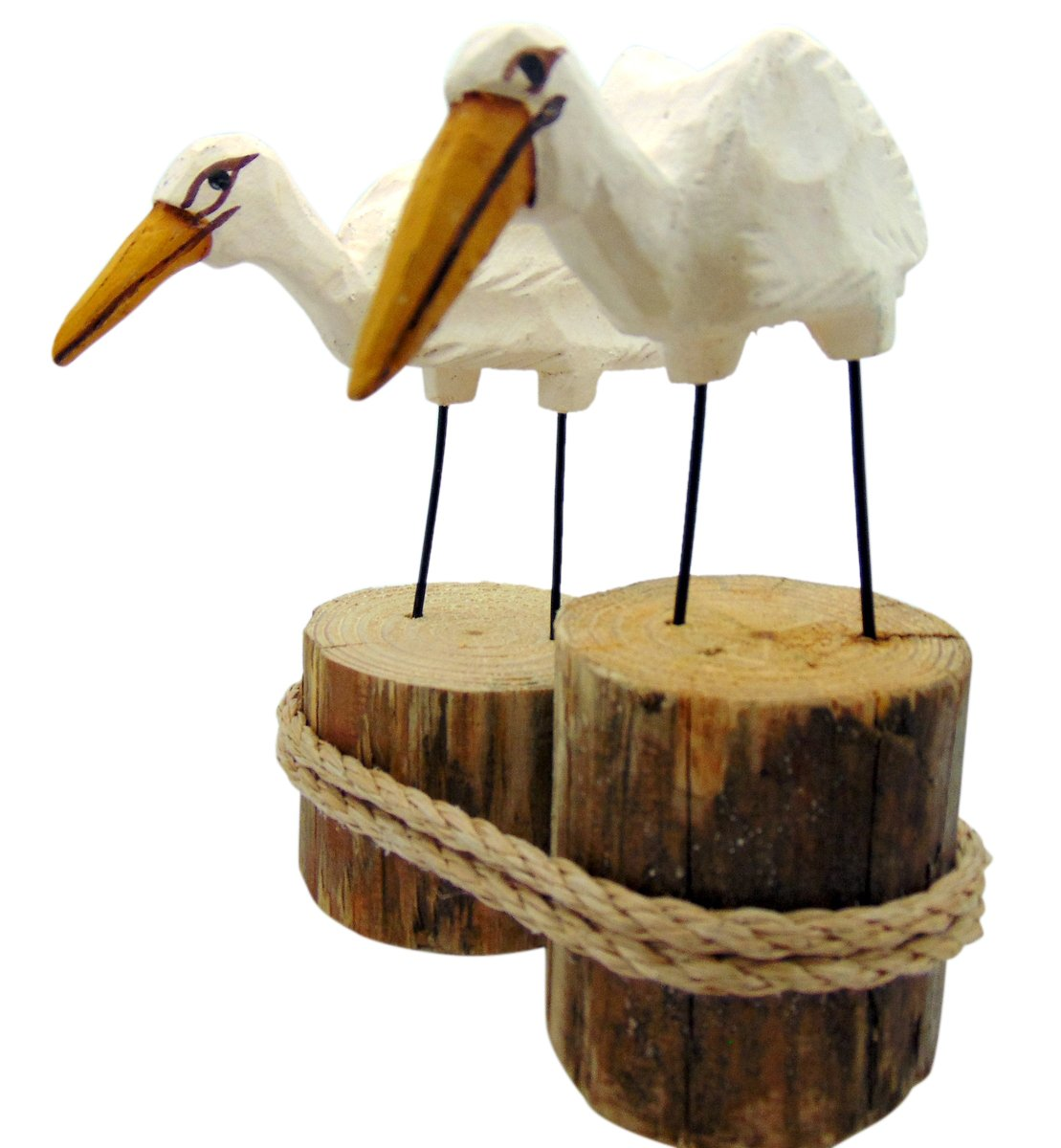 Egret Tropical Birds on Piling Hand Carved Wooden Figurine 6 Inches High Made in the USA