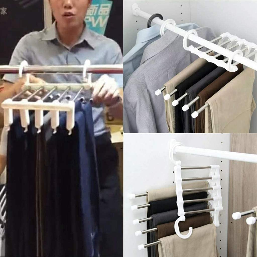 DBright Trouser Hanger Premium Clothes Pants Hangers Sturdy Stainless Steel Trousers RackSpace Saving Multi-Bar Trousers Rack Non-Slip Closet Organiser for Scarfs Jeans Clothes Trousers Towels