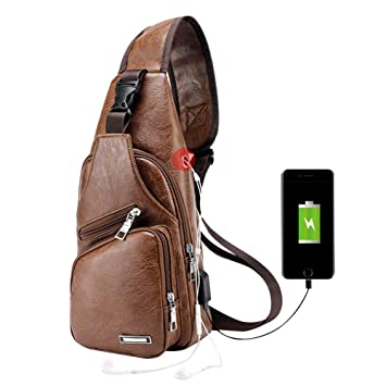 316d50e7d444 Men Chest Bag,Leather Sling Shoulder Backpack,Anti Theft Water Resistant  Crossbody Bag with USB Charging Port (Light brown)