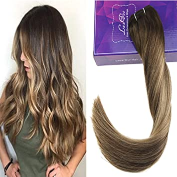 LaaVoo 18Pouce Lisse Weave Hair Humain Cheveux Balayage Marron Ombre  Caramel Blonde Tissage Qualite 7A Remi Human Hair Bundles 100Gramme/Lot