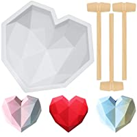 Diamond Heart Shape Silicone Cake Mold Chocolate Mousse Dessert Baking Pan Silicone Fondant Mold with 8 Pieces Mini Wooden Hammers for Home Kitchen DIY Baking Tools