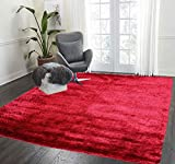 Red Two Tone Color 5×7 Large Shag Shaggy Carpet Area Rug Fiber Fluffy Fuzzy Flokati Plush Modern Contemporary Indoor Living Room Bedroom Floor Area Rug Carpet Polyester Deep Pile Plush (Aroma Red) Review
