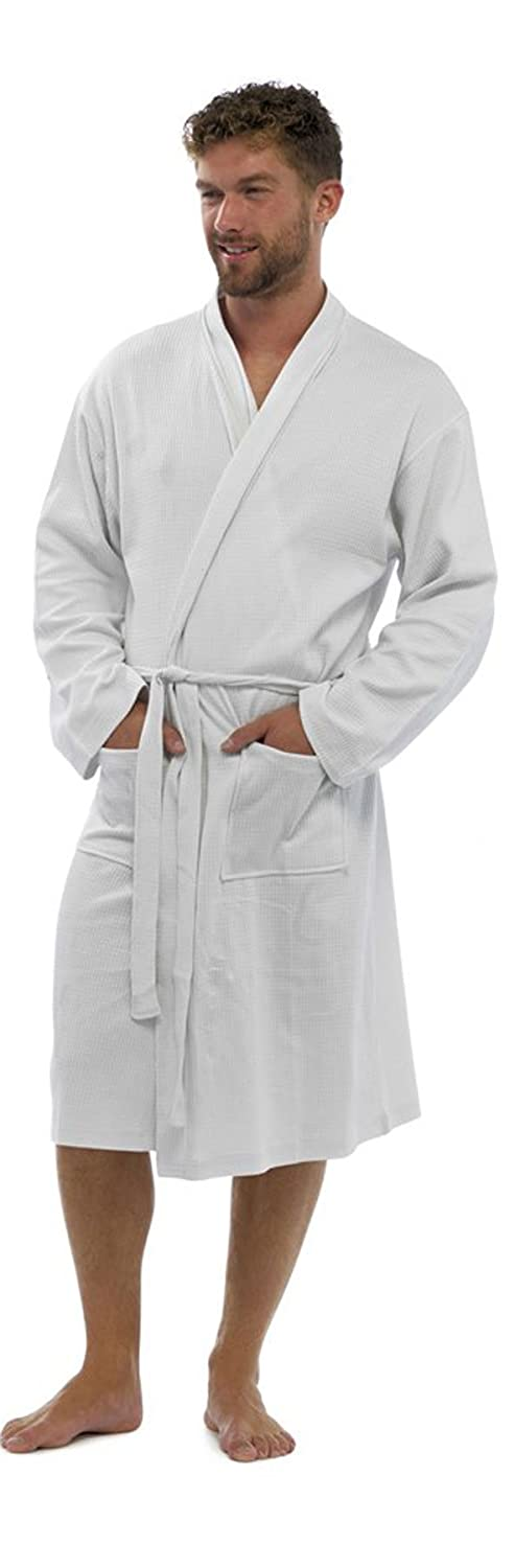 Strong Souls Mens Plain 100% Cotton Waffle Bathrobe Dressing Gown Belted Housecoat Gents, Size Large / X-Large, White