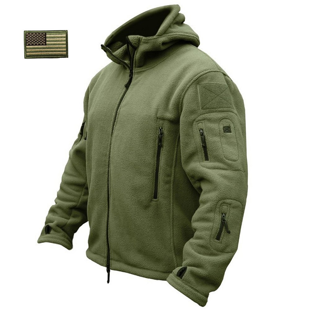 ReFire Gear Men's Warm Military Tactical Sport Fleece Hoodie Jacket, Army Green, X-Large by ReFire Gear (Image #1)