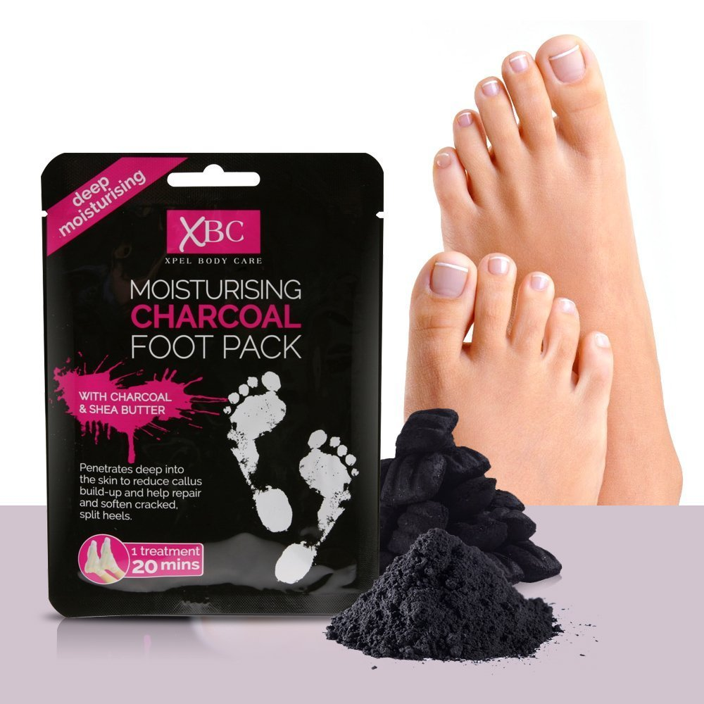 XBC Moisturising Charcoal Shea Butter Foot Pack for Cracked and Split Heel Repair (1) Xpel Marketing
