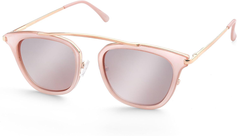 Edge I-Wear Fashion Unisex Horned Rim Sunglasses Double Brow Bar Design 53108TT-SD